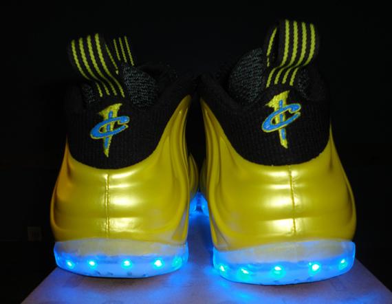 on sale eaca6 cca7c Nike Air Foamposite One 'Electrolime' Light-Up Customs ...